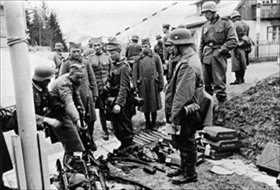 Balkans Campaign: Yugoslav infantry unit surrenders, 1941