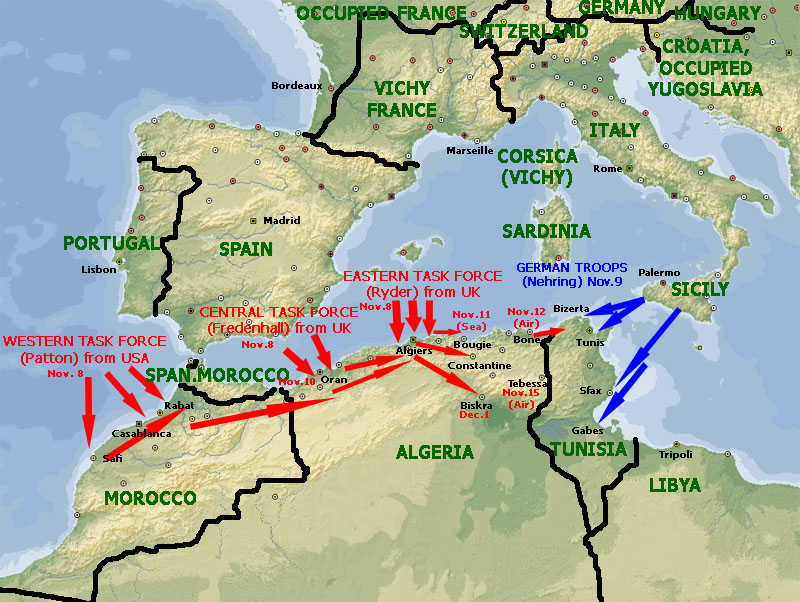 Torch operation northwest africa 19421943 world war ii day by day operation torch invasion map november 1942 gumiabroncs Image collections