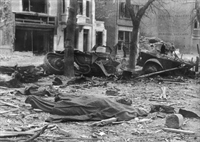 Pulverized Bastogne street after Luftwaffe attack