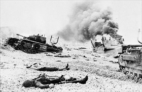 Churchill tanks, Canadian dead, Dieppe beach, August 19, 1942