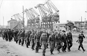 British and Canadian soldiers march into captivity, Dieppe, August 19, 1942