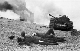 Churchill tanks, Canadian wounded, Dieppe beach, August 19, 1942
