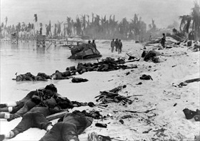 Dead Marines on a Tarawa Atoll beach