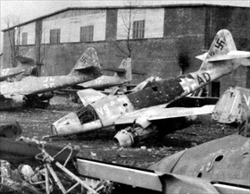 Damaged Messerschmitt Me 262s, Lechfeld, Bavaria, 1945
