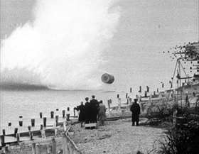 Bouncing bomb being dropped during training exercise