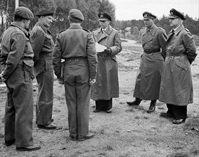 Karl Doenitz's surrender delegation at Lueneburg Heath, Northwest Germany, May 3, 1945