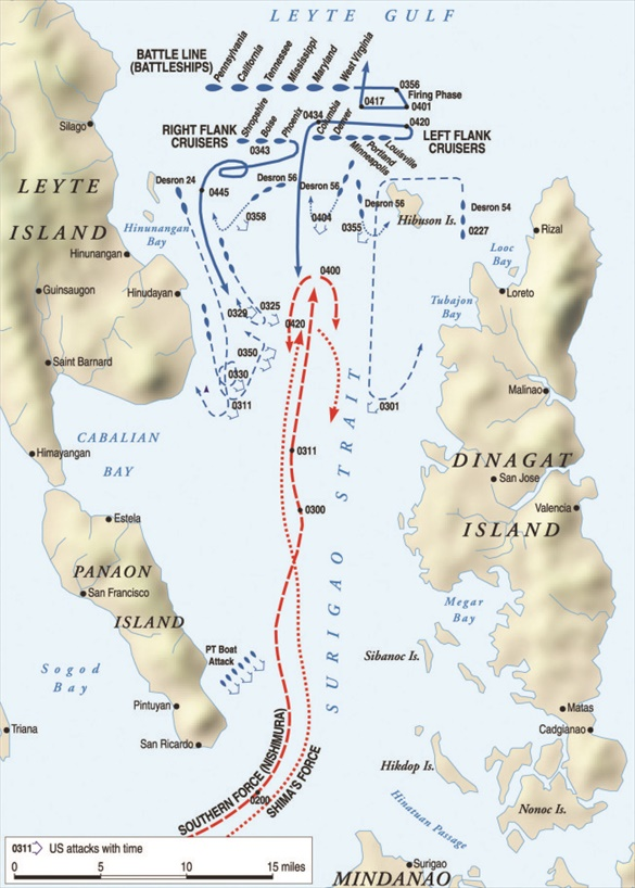 Map of Battle of Surigao Strait, October 25, 1944